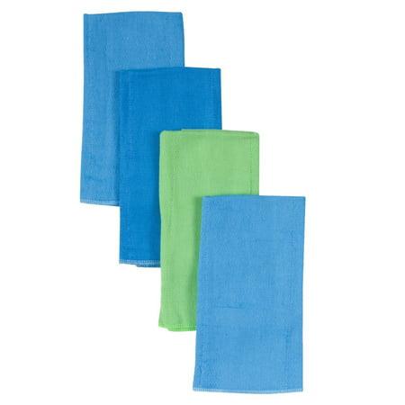 Gerber Diaper Burp Cloths, 4pk - Boy Solids