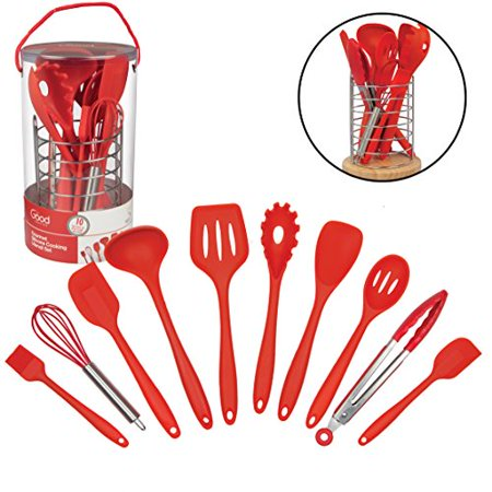 Kitchen Utensils w Bamboo Holder- 10 Pc Silicone Cooking Tools Set- Spatula, Spoon, Slotted Spoon, Tongs, Basting Brush, Ladle and More