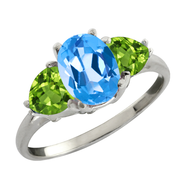 2.46 Ct Oval Swiss Blue Topaz and Green Peridot Sterling Silver Ring