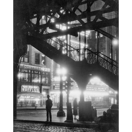 Historic Chicago, Illinois - Under the L Train, c1930 | Restored Black & White Photo | 24in x 30in - Chicago Decorations