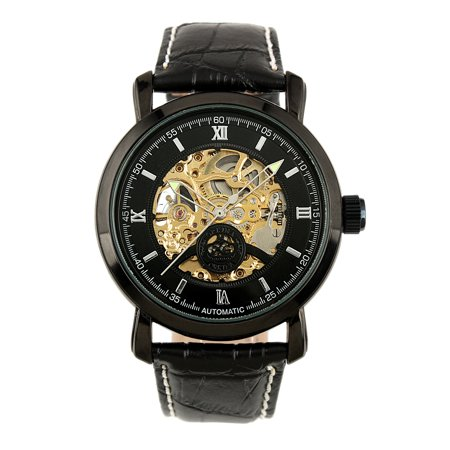 Automatic Mechanical Wrist Watch Mens Steampunk Skeleton Stainless Steel ()