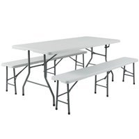 Zimtown 6' Portable Folding Picnic Table + 2 pcs of 6' Benches, for Picnic Patio Garden Outdoor Camping