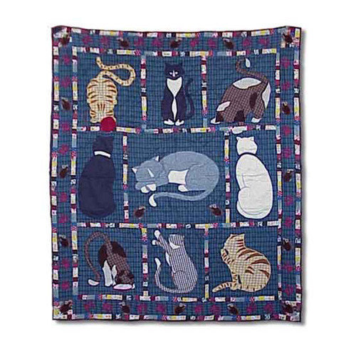 Patch Magic Kitty Cats Cotton Throw Quilt