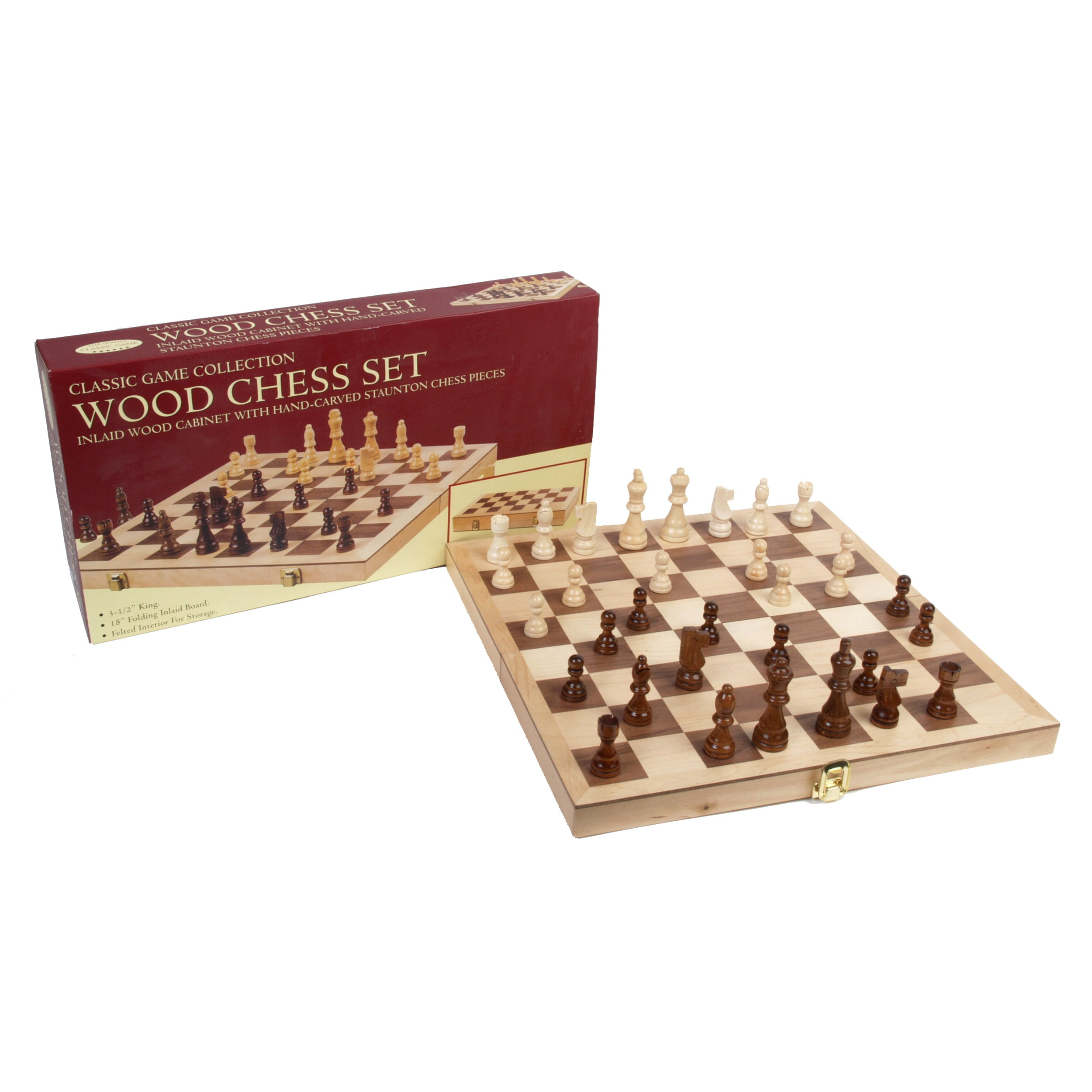 Good Classic Games Collection Inlaid Wood Chess Set   Walmart.com