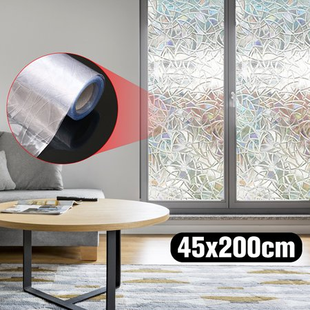 For Sale!! 3D Static Cling Frosted Stained Flower Glass Anti-UV Waterproof intrusion No Glue Non-Adhesive Static Removable Translucent Window Glass Film Sticker Decor Paste (Semi Paste)