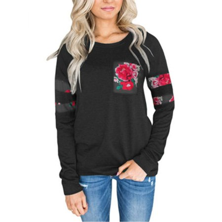 T Shirts for Women Floral Print Long Sleeve Casual Tops Blouses Ladies Autumn Loose Crew Neck Tee Pullover T-Shirt