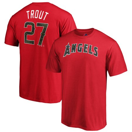 Majestic Angel Fish - Mike Trout Los Angeles Angels Majestic Name & Number T-Shirt - Camo/Red