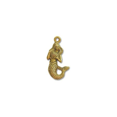 - Charm for Jewelry Making - Mermaid 19x12mm Pewter Antique Gold Plated (1-Pc)