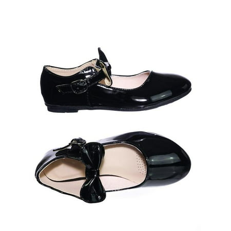 Gloria64K by Forever Link, Children Girls Mary Jane Round Toe Ballet Bellarina Flat w - White Leather Ballet Flats