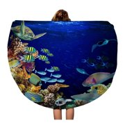 NUDECOR 60 inch Round Beach Towel Blanket Underwater Coral Reef Landscape Quadratic in The Deep Blue Travel Circle Circular Towels Mat Tapestry Beach Throw