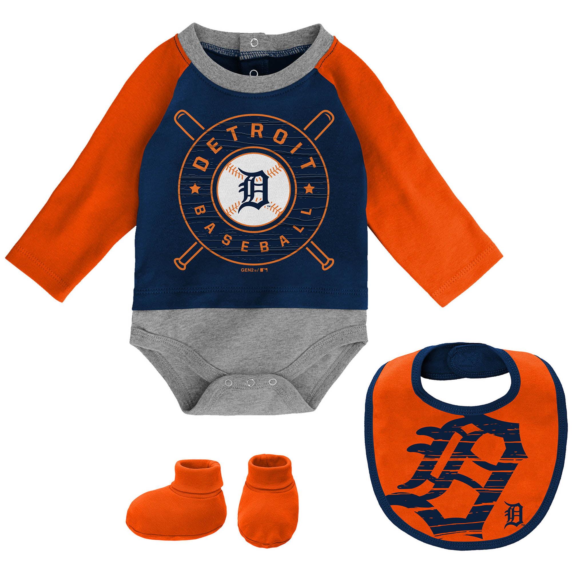 Detroit Tigers Newborn & Infant Dugout Dude Bodysuit, Bib & Booties Set - Navy/Orange