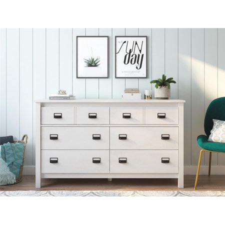 Ameriwood Home Crystal Spring 6 Drawer Dresser, Ivory Oak