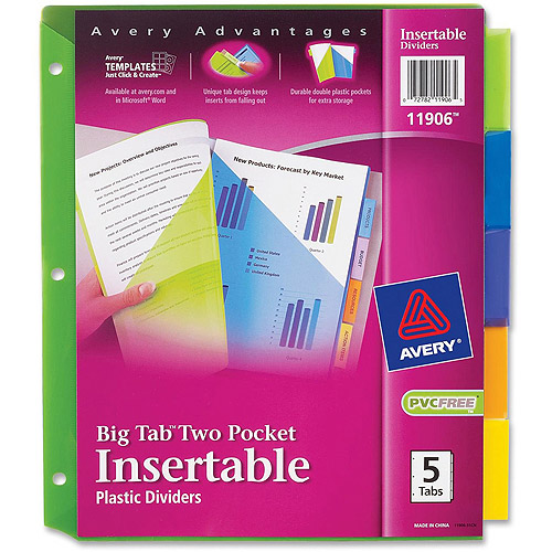 Avery Plastic 2-Pocket Insertable Tab Dividers