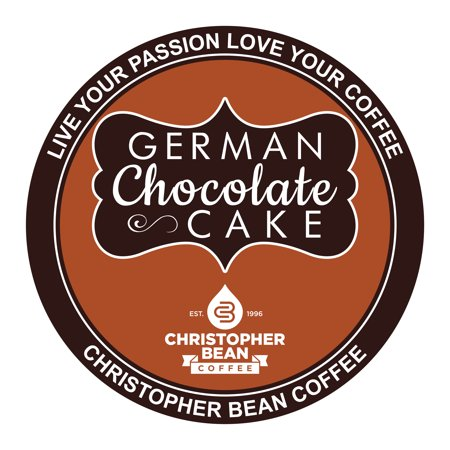 German Chocolate Cake Decaf Single Cup Coffee Christopher Bean Coffee K Cup, For Keurig Brewers (18 Count Box)