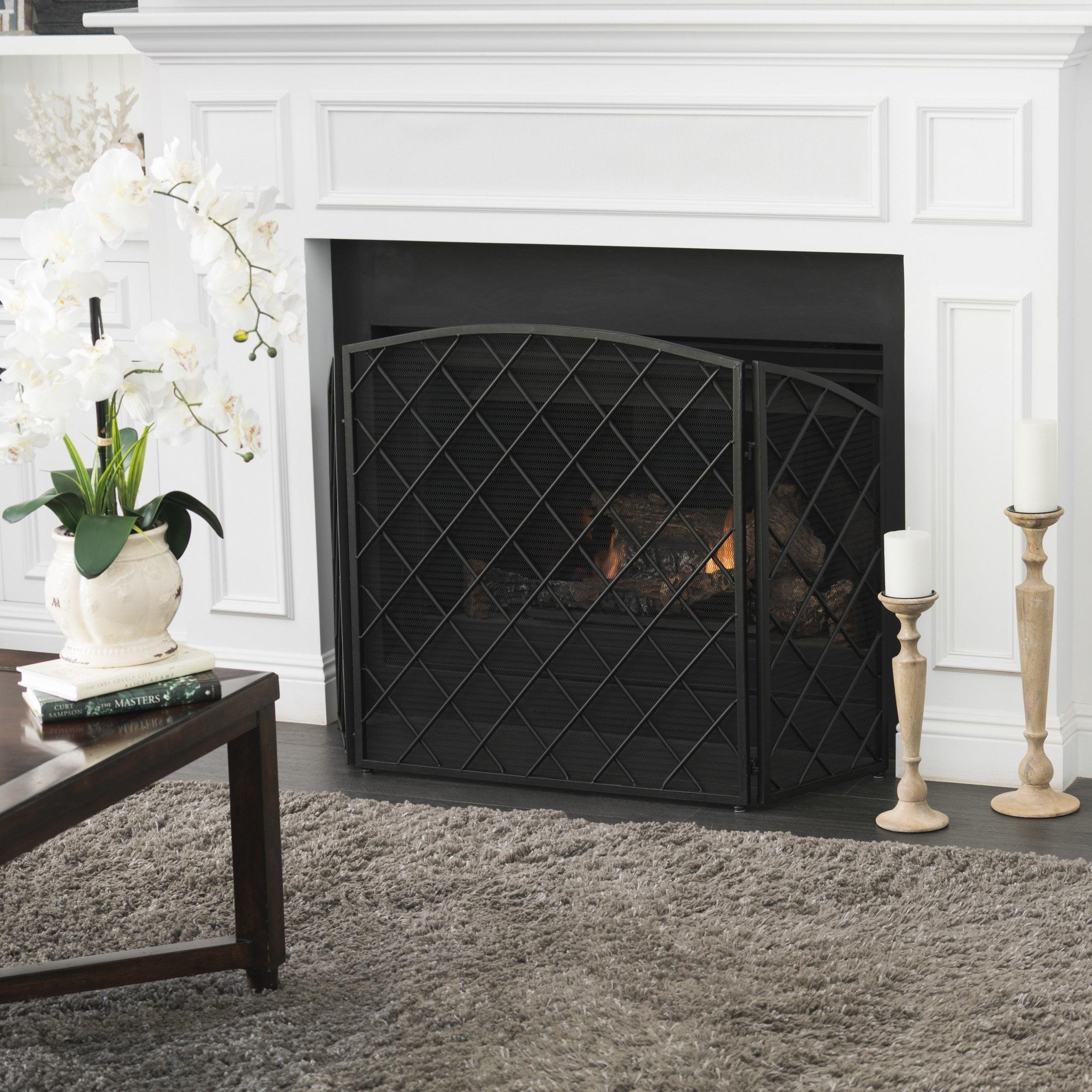 Angella 3 Panelled Iron Fireplace Screen, Gold