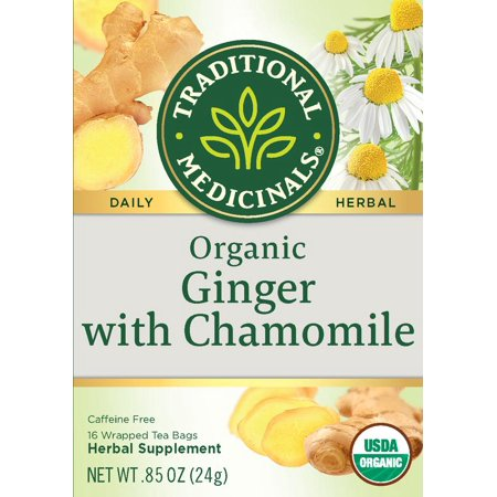 Traditional Medicinals, Organic Ginger With Chamomile, Tea Bags, 16 Ct