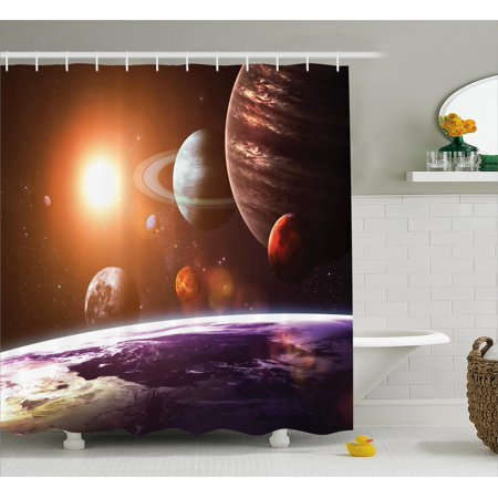 Galaxy Shower Curtain, Space Theme View of the Planets from Earth Science Room Art with Sun and Moon, Fabric Bathroom Set with Hooks, Magenta Orange, by - Galaxy Themes
