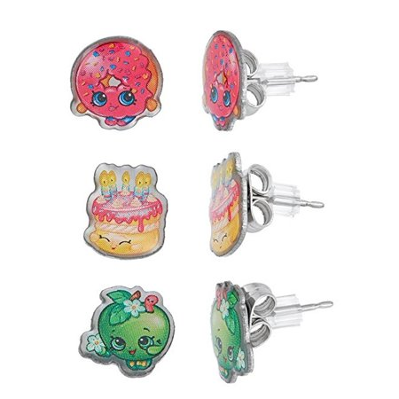 Shopkins Stainless Steel Trio Earrings Set D'Lish Donut , Wishes , Apple Blossom + Schick Slim Twin ST for Sensitive Skin (Squash Blossom Necklace Earrings)