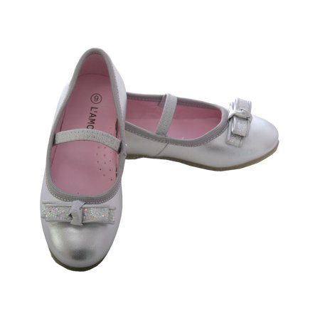 L'Amour Silver Sparkle Bow Ballet Flat Shoe Toddler Girl 5-10 - Ballet Flats Toddlers
