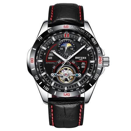 BOYZHE WL019-P Business Men Automatic Mechanical Watch Moon Phase Time Display Fashion Casual Luminous Hands Leather Strap 3ATM Waterproof Male