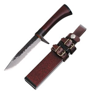 Kanetsune Knives 207 Irodori Damascus Fixed Blade Knife with Red Finished Oak Handle Multi-Colored