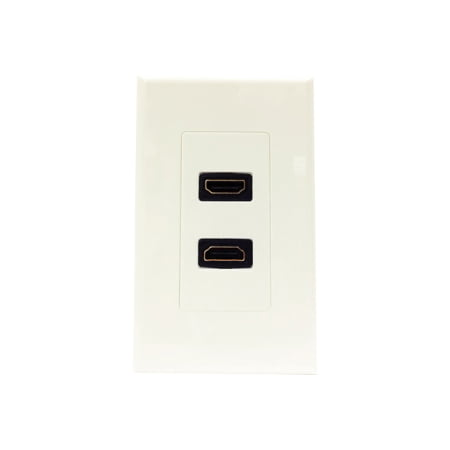 Dual Wall Plate - 2PORT DUAL OUTLET DECORA HDMI FEMALE WALL PLATE WHITE