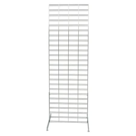 Chrome Slat Grid Standing Grid Screen (Grid Wall Unit) - 2 x 6 foot