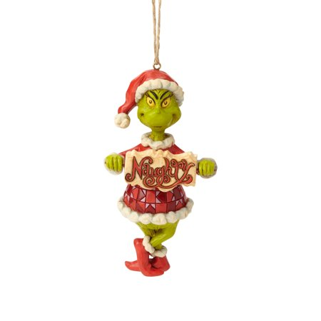 Jim Shore Grinch with Naughty/Nice Sign Hanging Ornament](Grinch Christmas Decoration)