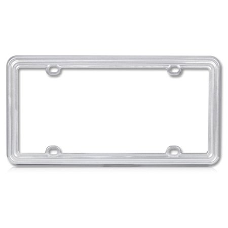 Insten Silver Plastic Plain LPF6SN002SLV License Plate Frame Tag Cover Screw Caps