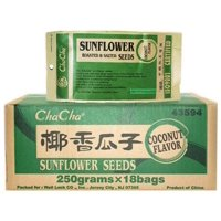 Chacha Sunflower Roasted and Salted Seeds 250g (Coconut Flavor(??) 18 Bag(one Case)) + One NineChef Spoon
