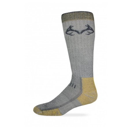 RealTree 794 Uplander Heavyweight Merino Wool Boot Socks, Grey/Gold