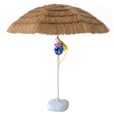 ORNO TTOBE 7ft Hula Thatched Tiki Umbrella Hawaiian Style Beach Patio Umbrella Natural Color 8 ribs (NO BASE) - Tiki Umbrellas