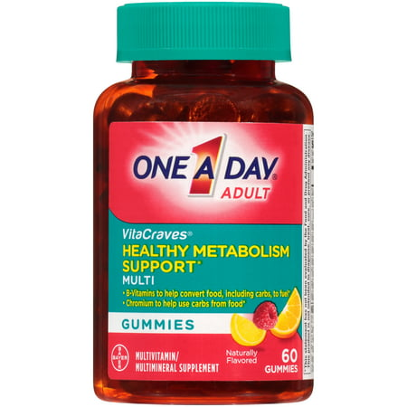 One A Day VitaCraves Multivitamin Gummies with Healthy Metabolism Support* , Supplement with Vitamins A, C, E, and B-Vitamins, 60 Count - White Gummy