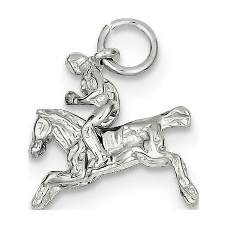 925 Sterling Silver Moveable Bronco (17x16mm) Pendant / Charm