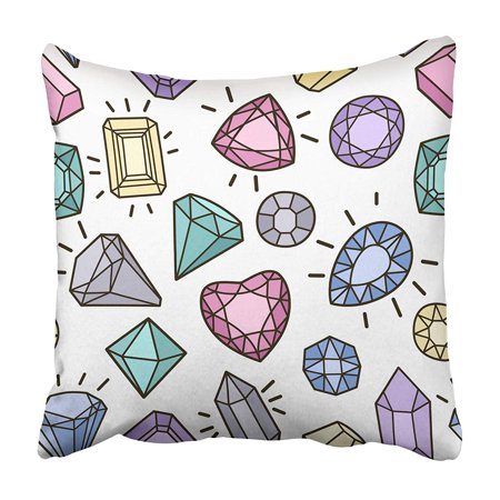 - USART Blue Stone Cute with Gems and Diamonds Trendy Green Comic Fun Glamour Ruby Badge Pillowcase 18x18 inch
