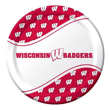 Ncaa Tailgate Party Pack (Pack of 96 NCAA Wisconsin Badgers Round Tailgate Party Paper Dinner Plates 8.75