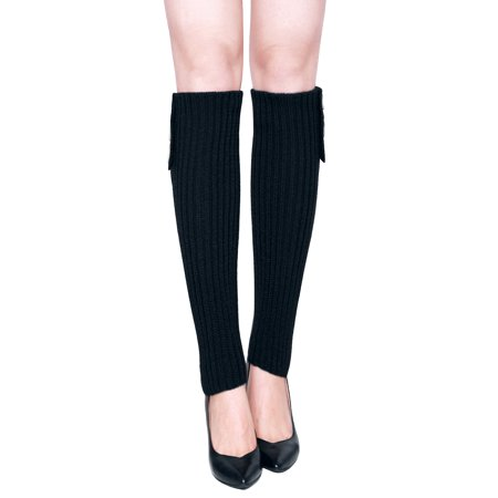 Women Three Buttons Decor Ribbed Knit Knee High Leg Warmers