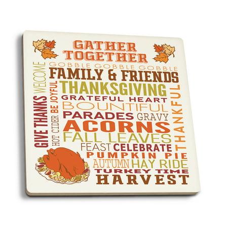 Gather Together - Thanksgiving Typography w/ Turkey - Lantern Press Artwork (Set of 4 Ceramic Coasters - Cork-backed, Absorbent)](Turkish Lanterns)