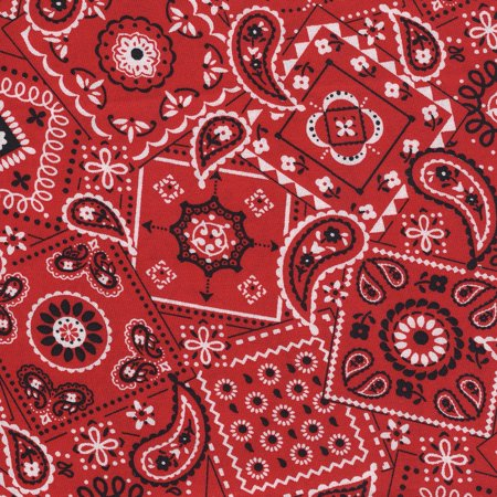 SHASON TEXTILE (3 Yards cut) 100% COTTON PRINT QUILTING FABRIC, RED BANDANA