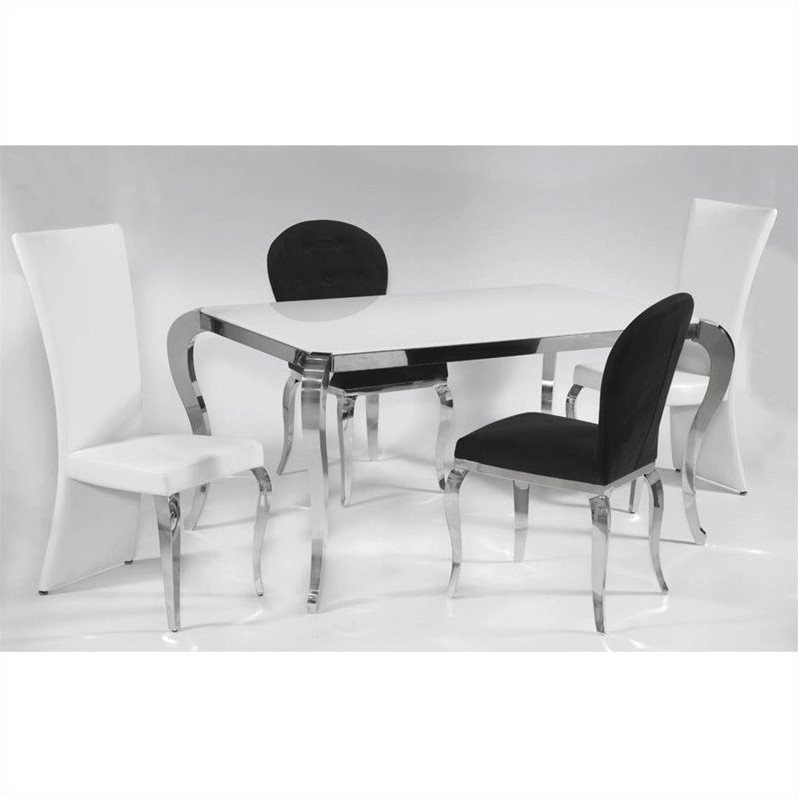Chintaly Teresa Starphire Glass Top Dining Table in White