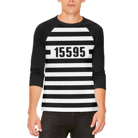 Halloween Prisoner Old Time Striped Costume Mens Raglan T Shirt](Bassnectar Halloween Time)