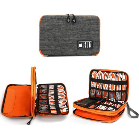 Jelly Comb 2 Layer Electronics Organizer, Universal Electronic Accessories Travel Case Storage Bag with for Tablet, Power Bank, Phone, USB Cables Cords Charger Orange and