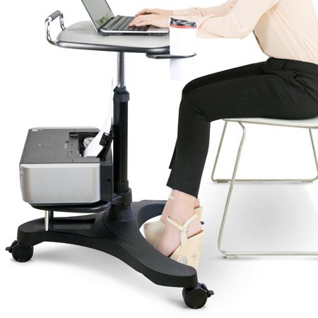 Aidata Ergonomic Sit-Stand Mobile Laptop Cart Work Station with Printer Shelf Aidata Ergonomic Sit-Stand Mobile Laptop Cart Work Station with Printer Shelf