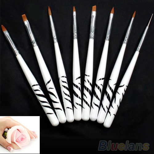 8PCS Zebra Nail Art Dotting Manicure Painting Drawing Polish Brush Pen Tools