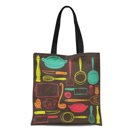 LADDKE Canvas Bag Resuable Tote Grocery Shopping Bags Chef Cooking Utensils Tool Draw Doodle Sketch Kitchenware Equipment Vintage Tote Bag