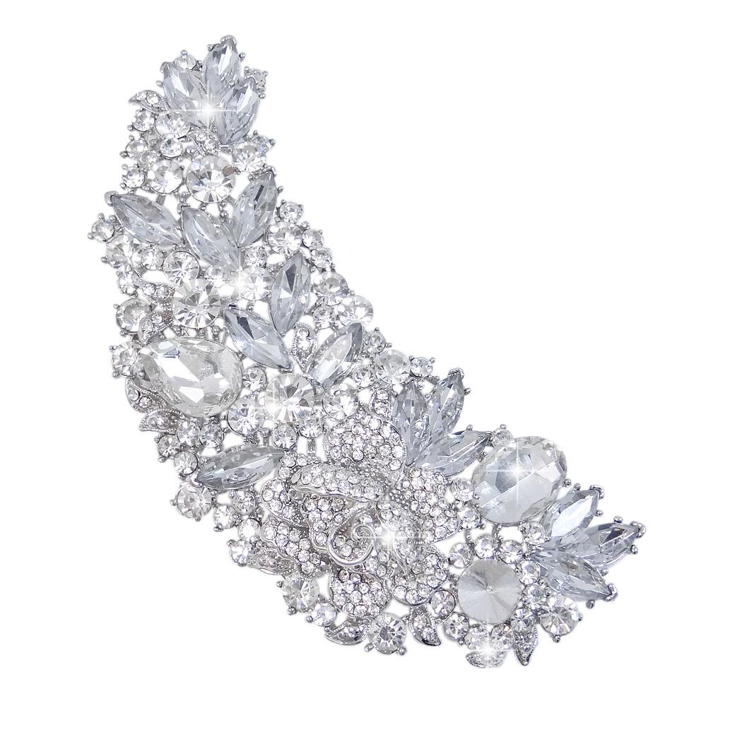 AIMO Gold Tone Rose Flower Teardrop Brooch Pin Clear Austrian Crystal by