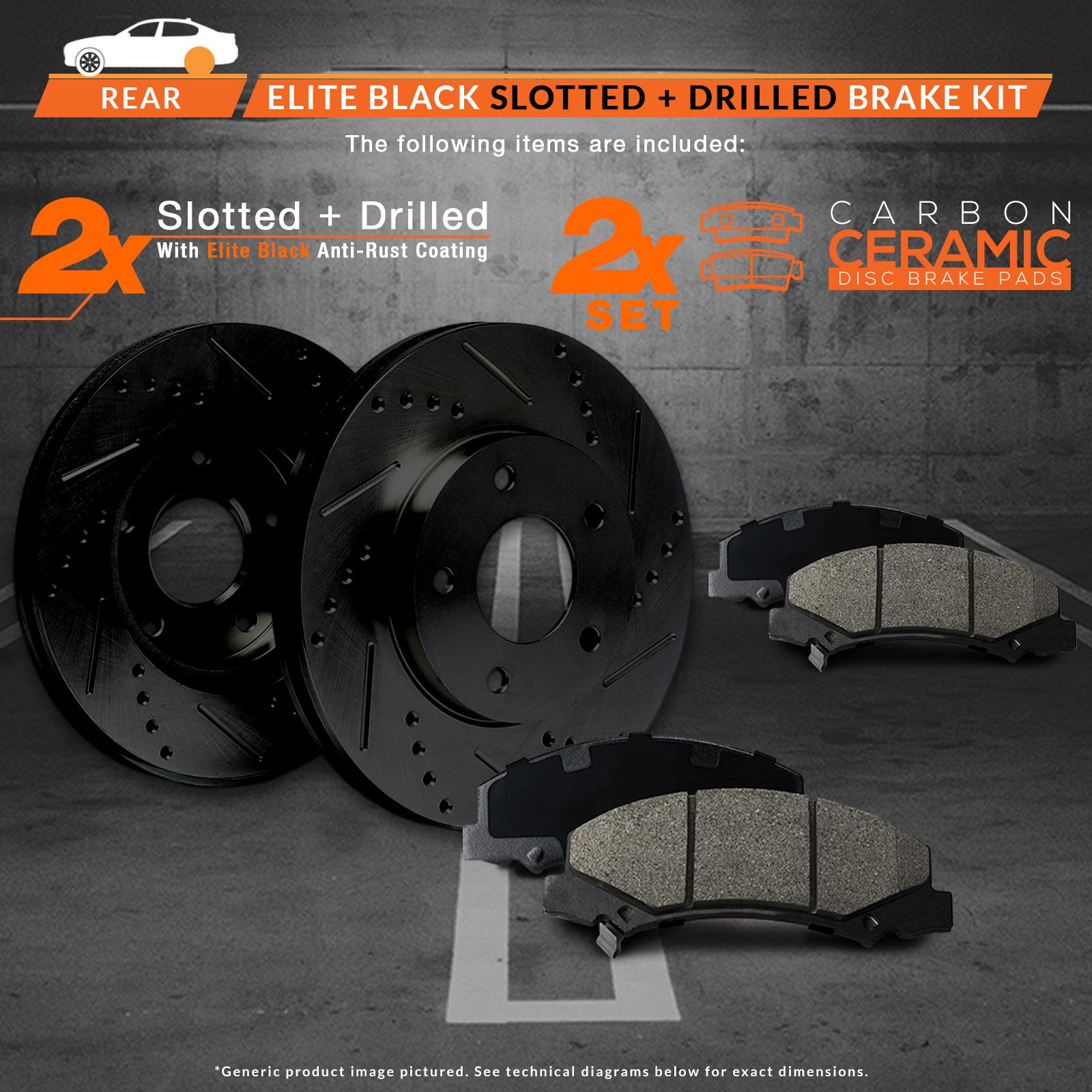 Max Brakes Rear Elite Brake Kit [ E-Coated Slotted Drilled Rotors + Ceramic Pads ] KT020282 | Fits: 2003 03 Audi A6 2WD; Non Quattro Models - image 5 de 8