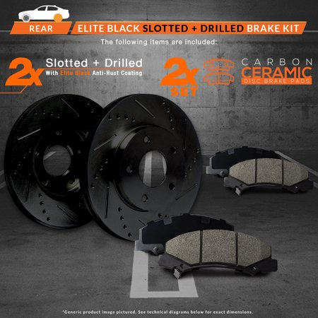 Max Brakes Rear Elite Brake Kit [ E-Coated Slotted Drilled Rotors + Ceramic Pads ] KT085382 | Fits: 2004 04 2005 05 2006 06 2007 07 Toyota Sequoia - image 5 of 8