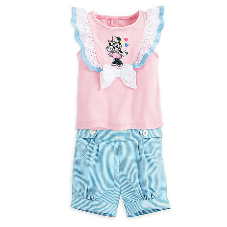 Disney Store Baby Girls Minnie Mouse Two Cute Knit Top & Shorts Set, Pink/Blue