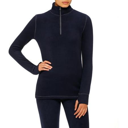 (Stretch Fleece Long Sleeve Mock Neck Half Zip Sleepwear Top)